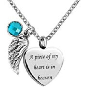 NWT HEART URN KEEPSAKE NECKLACE W/ANGEL WING